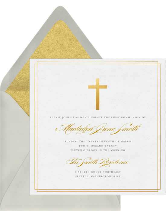 The Simple Cross First Communion Invitations from Greenvelope
