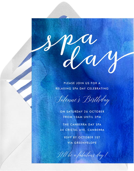 Blue watercolor spa day birthday invitations online