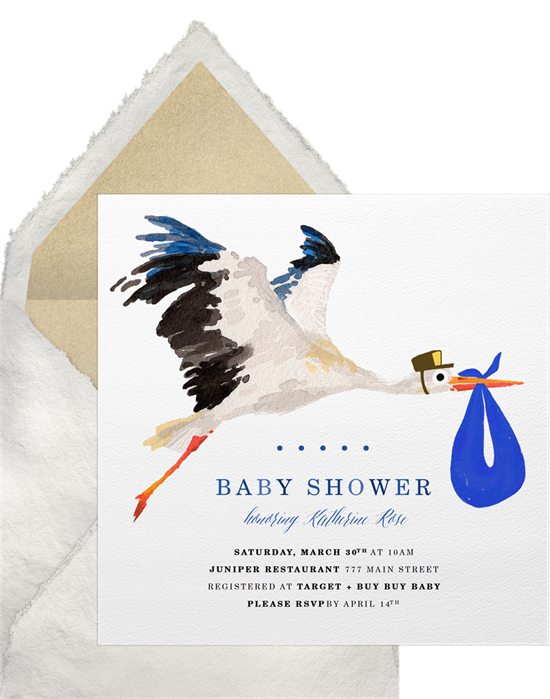 Baby shower invitations for boys: the Special Delivery Stork Invitation design from Greenvelope