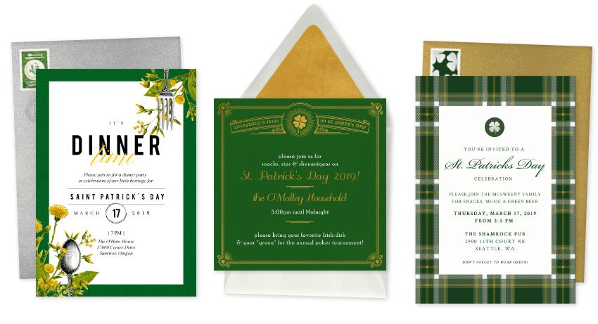 trio of three classy St. Patrick's Day party invitations