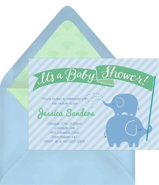 Baby shower invitations for boys: the Stacked Elephants invitation design from Greenvelope