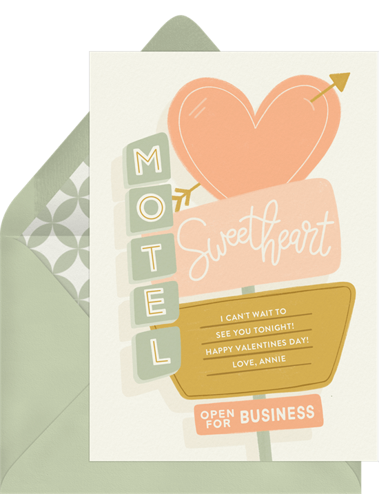 Sweetheart Motel Valentine's Day Card from Greenvelope