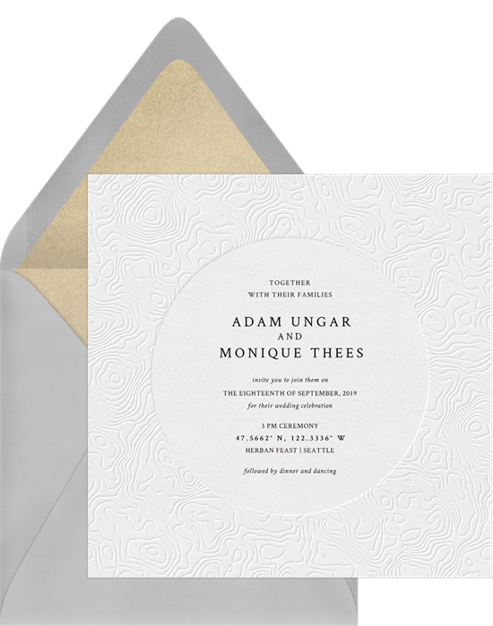 White, letterpress-inspired digital wedding invitations with a topographical design
