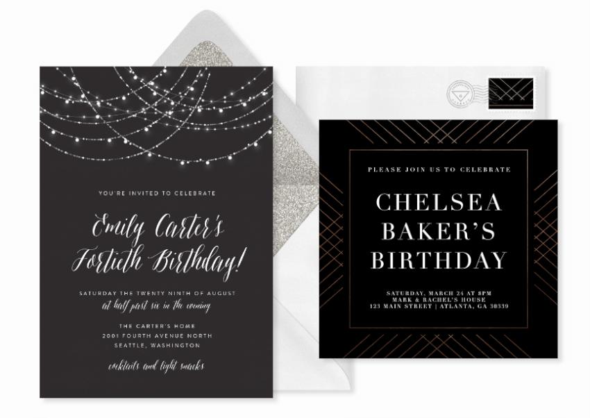 string lights birthday party invitation