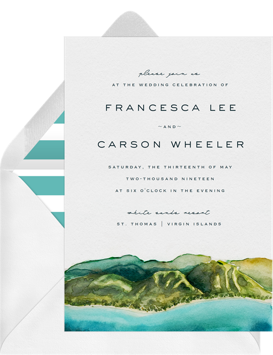 Beach wedding invitations: the Tranquil Coastline invitation design from Greenvelope