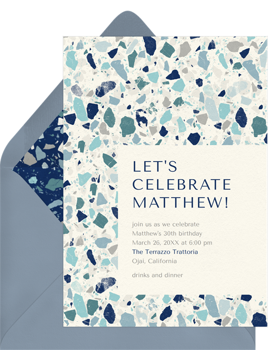 Terrazzo patterned birthday invitations online