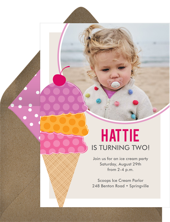 1st birthday invitations: the Triple Scoop invitation design from Greenvelope