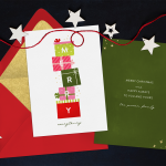 Christmas card ideas: A two sided card with garland of string and stars