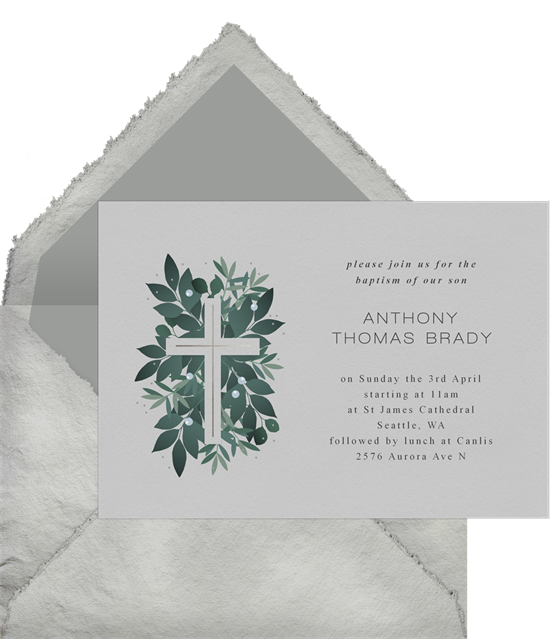 Verdant Cross baptism invitations from Greenvelope
