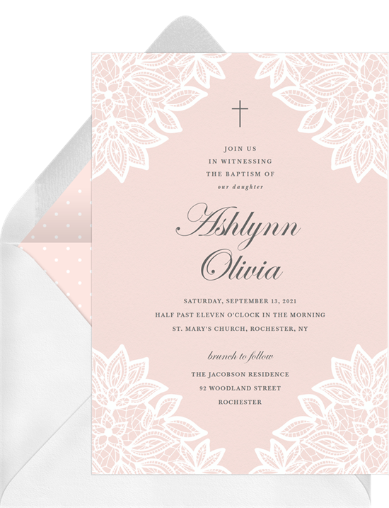 Vintage Lace Corners baptism invitations from Greenvelope