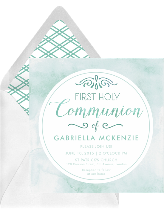 The Watercolor First Communion Invitations from Greenvelope