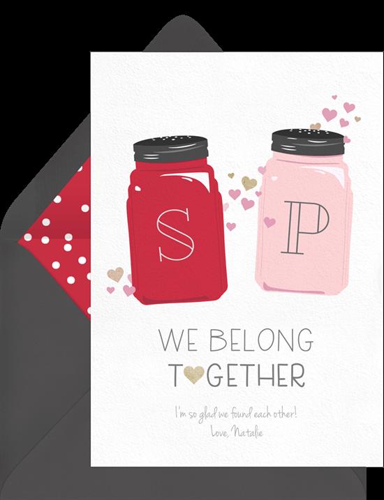 We Belong Together Salt and Pepper Valentine's Card from Greenvelope