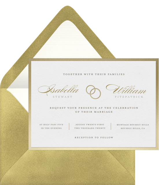 Classic wedding invitation examples with a gold-foil border, lettering, and wedding bands illustration