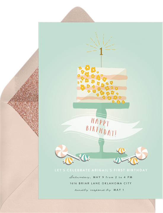 1st birthday invitations: the Whimsical Cake invitation design from Greenvelope