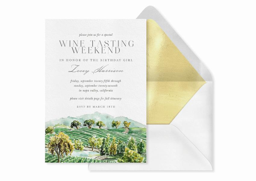 wine tasting birthday party invitation