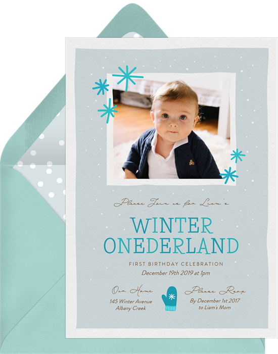 1st birthday invitations: the Winter Onederland invitation design from Greenvelope