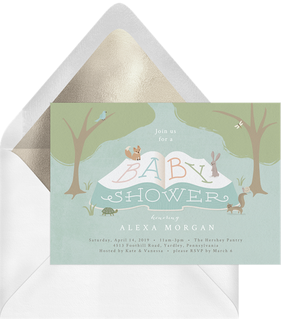 Baby shower invitations for boys: the Woodland Story Time invitation design from Greenvelope