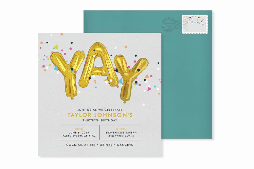 yay balloons birthday party invitation