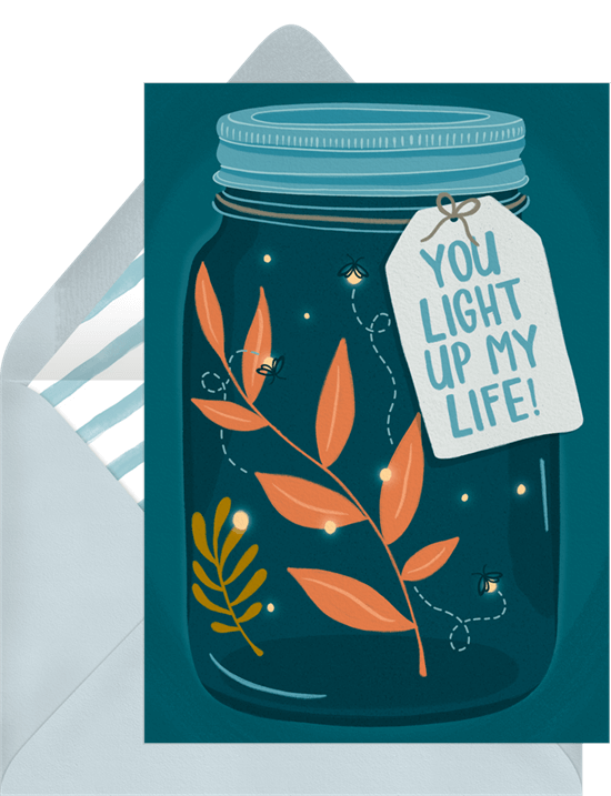 You Light Up My Life Valentine's Card from Greenvelope featuring fireflies in a mason jar sparkling amongst leaves